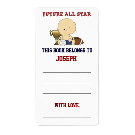 Future All Star Boy Baby Shower Bookplate Shipping Label