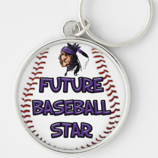 Future Baseball Star Silver-Colored Round Key Ring