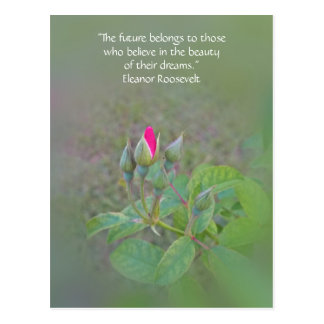 """Future belongs to"" inspirational rosebud postcard"
