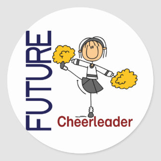 Future Cheerleader Stick Figure Round Sticker