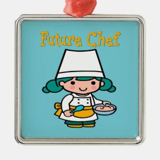 Future Chef When I Grow Up Silver-Colored Square Decoration