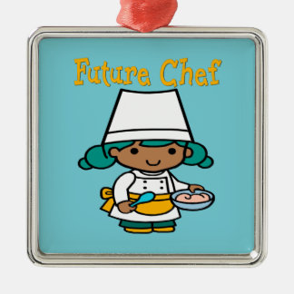 Future Chef When I Grow Up Silver-Colored Square Decoration