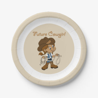Future Cowgirl Dark Skin When I Grow Up Paper Plate