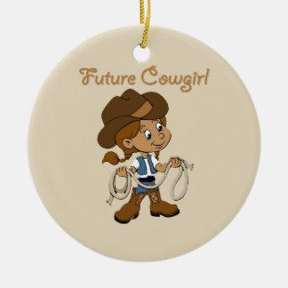Future Cowgirl Dark Skin When I Grow Up Round Ceramic Decoration