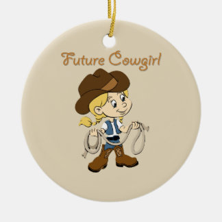 Future Cowgirl When I Grow Up Round Ceramic Decoration