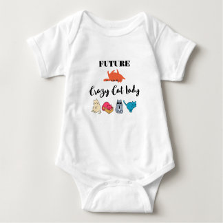 Future Crazy Cat Lady - Cute Kitty Illustration Baby Bodysuit