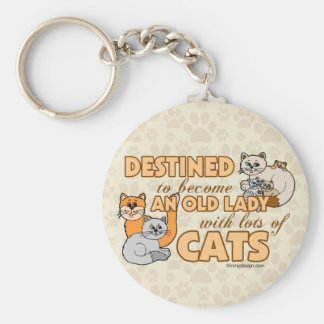 Future Crazy Cat Lady Funny Saying Basic Round Button Key Ring