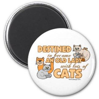 Future Crazy Cat Lady Funny Saying Design 6 Cm Round Magnet