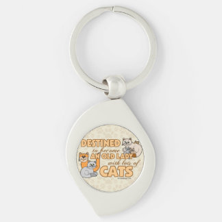 Future Crazy Cat Lady Funny Saying Design Keychains