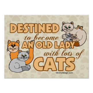 Future Crazy Cat Lady Funny Saying Design Poster