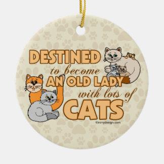 Future Crazy Cat Lady Funny Saying Design Round Ceramic Decoration