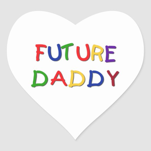 Future Daddy Primary Colors T-shirts and Gifts Heart Stickers