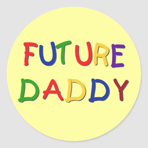 Future Daddy Primary Colors Tshirts and Gifts Sticker