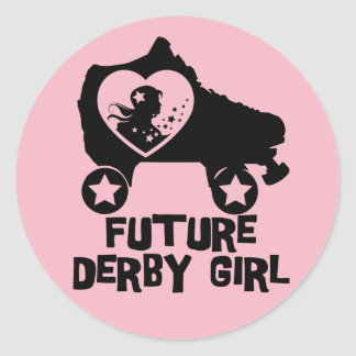 Future Derby Girl, Roller Skating design for Kids Classic Round Sticker