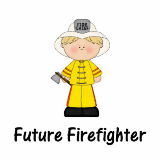 future firefighter (boy) standing photo sculpture