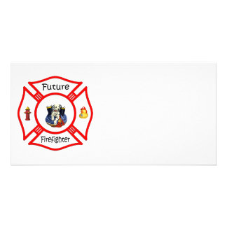 Future Firefighter Red Maltese Photo Greeting Card