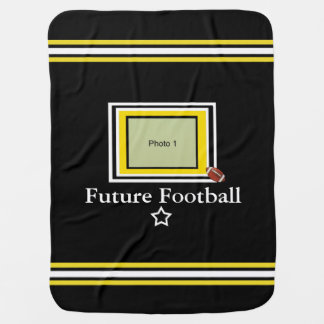 Future Football Star Baby Blanket- Black/Gold-wht Baby Blanket