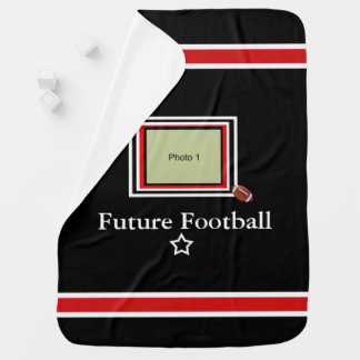Future Football Star Baby Blanket- Black/Red-wht Baby Blanket