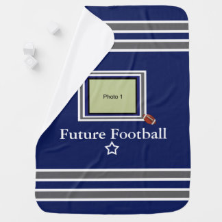 Future Football Star Baby Blanket- Blue/ Wht/Gray Baby Blanket
