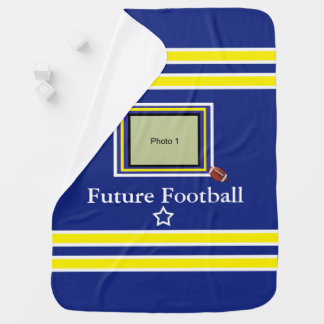 Future Football Star Baby Blanket- Blue/ Yellow Baby Blanket