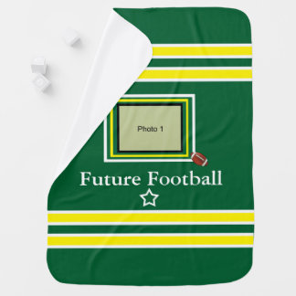 Future Football Star Baby Blanket- Green/ Yellow Baby Blanket