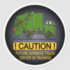 Future Garbage Truck Green Driver Kids Sticker