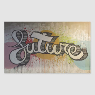 'FUTURE' Graffiti Colourful Design Rectangular Sticker
