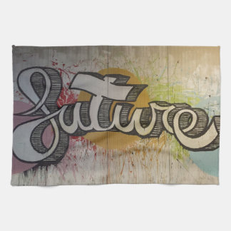 'FUTURE' Graffiti Colourful Design Tea Towel