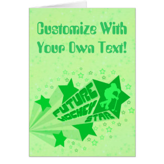 Future Hockey Star (green) Greeting Card