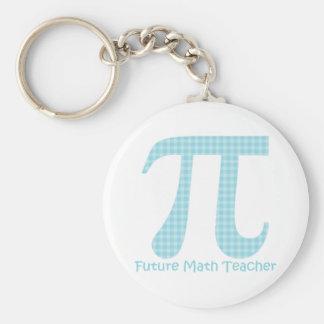 Future Math Teacher Pastel Blue Gingham Basic Round Button Key Ring
