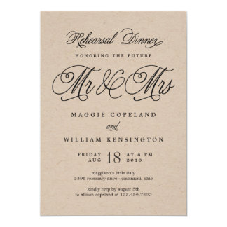 Future Mr and Mrs Rehearsal Dinner Kraft Card