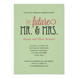 Future Mr and Mrs Rehearsal Dinner /Wedding Shower 13 Cm X 18 Cm Invitation Card