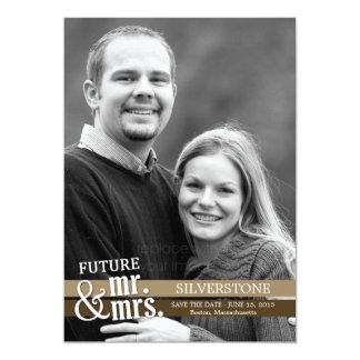 Future Mr. & Mrs. Save The Date Card - Brown 13 Cm X 18 Cm Invitation Card