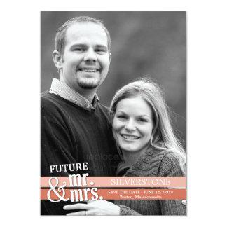 Future Mr. & Mrs. Save The Date Card - Peach 13 Cm X 18 Cm Invitation Card