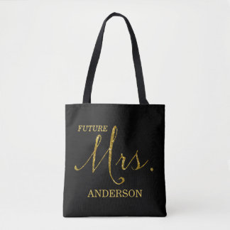 Future Mrs. Black and Faux-Glitter Gold Tote Bag