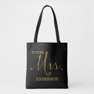 Future Mrs. Black and Faux-Glitter Gold Tote Bag