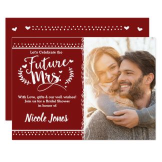 FUTURE MRS. Cranberry Red Bridal Shower Photo Card