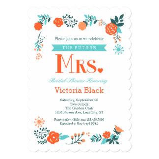 "Future Mrs. Floral Bridal Shower Invitation 5"" X 7"" Invitation Card"
