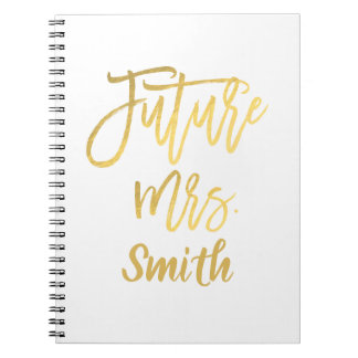Future Mrs. Gold Script Wedding Planning Modern Notebook