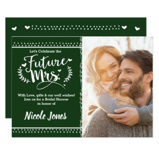 FUTURE MRS. Pine Green Bridal Shower Photo Card
