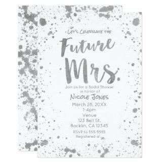 FUTURE MRS. Silver White Bridal Shower Invitation