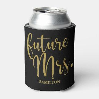 Future Mrs Stylish Gold Glitter Bride Bachelorette Can Cooler