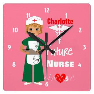 Future Nurse Little Girls Cute Personalized Square Wall Clock