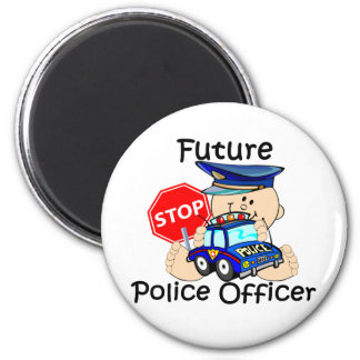Future Police Officer 6 Cm Round Magnet