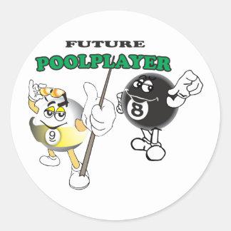 Future Pool Player Classic Round Sticker