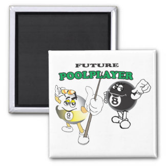 Future Pool Player Square Magnet