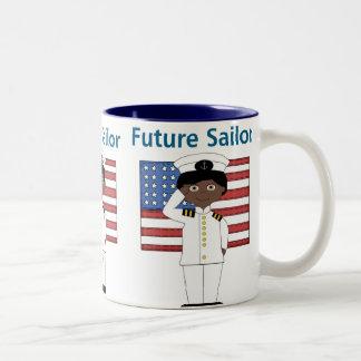 Future Sailor Boy African American Two-Tone Mug