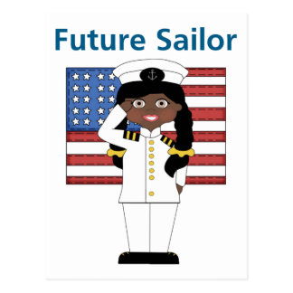 Future Sailor Girl African American Postcard
