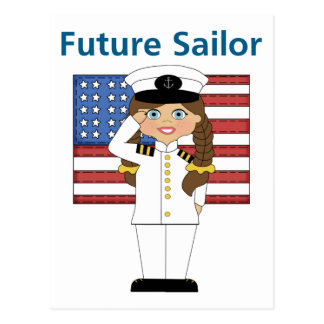 Future Sailor Girl Dark Hair Postcard