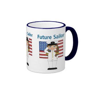 Future Sailor Girl Dark Hair Ringer Mug